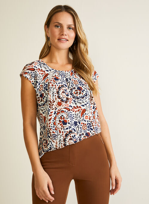 Abstract Print Blouse, White