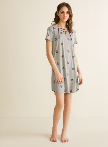 Claudel Lingerie - V-Neck Nightgown, Grey,  Spring summer 2020, short sleeves, printed, lace-up neckline, rounded hem
