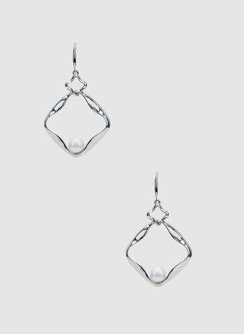 Pearl Insert Earrings, White, hi-res,  earrings, spring 2019
