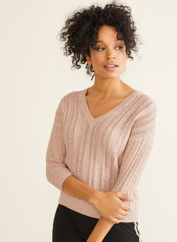 Metallic Crochet Sweater, Pink,  3/4 sleeves, crochet sweater, sweater, v-neck, chunky sweater, metallic, fall 2019, winter 2019