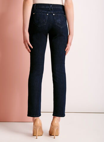 Embroidered Modern Fit Straight Leg Jeans, Blue, hi-res