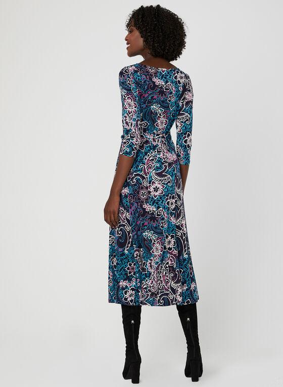 Nina Leonard – Floral Puff Print Midi Dress, Blue, hi-res
