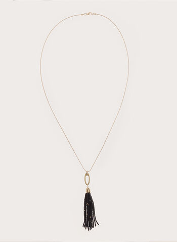 Beaded Tassel Pendant, Black, hi-res