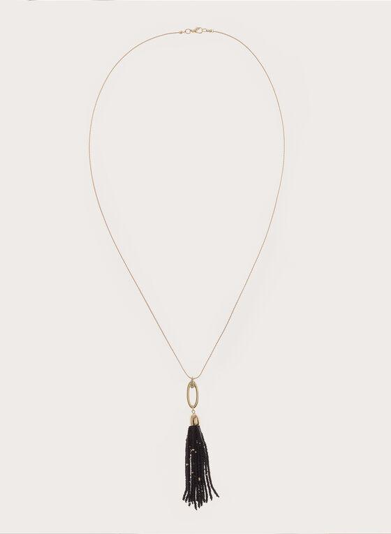 Collier sautoir avec pompon en perles, Noir, hi-res