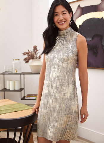 Sleeveless Pleated Dress, Black,  fall winter 2020, dress, dresses, fit and flare, pleated, shimmer, shine, glitter, sleeveless, light fabric, made in Canada, holiday, holiday 2020