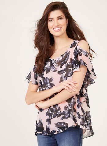 Floral Print Chiffon Cold Shoulder Blouse, Multi, hi-res