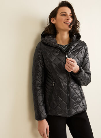 Novelti - Diamond Quilted Coat, Black,  Novelti, coat, quilted, lightweight, washable, hood, water repellent, long sleeves GLOW, fall 2019, winter 2019