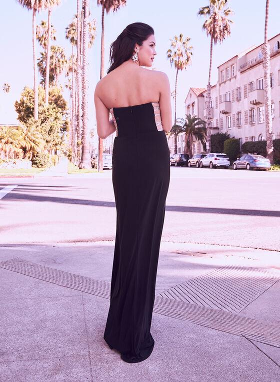 Rhinestone Embellished Jersey Gown, Black, hi-res