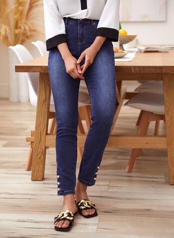 Button Detail Slim Leg Jeans, Blue,  spring summer 2021, pants, bottoms, jeans, denim, stonewashed, washed, button detail, embellished, pearl, 5 pockets, slim leg, belt loops, stretch denim, mid rise