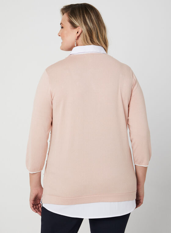 Pearl Detail Fooler Sweater, Pink, hi-res