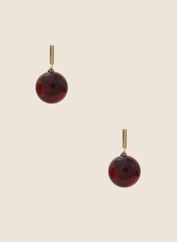 Boucles d'oreilles demi-sphères marbrées, Rouge,  automne hiver 2020, boucles d'oreilles, marbré, bijou, accessoire, métallique