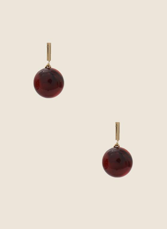 Marbled Semi-Sphere Earrings, Red