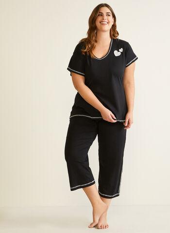 Pyjama à coutures contrastantes, Noir,  automne hiver 2020, pyjama, ensemble