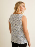 Sleeveless Floral Top, Blue