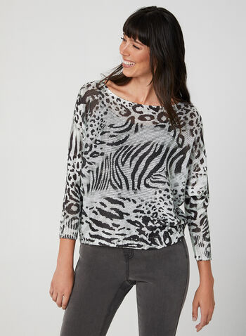M Made in Italy - Pull animalier en tricot, Gris, hi-res,  automne hiver 2019, pull, tricot, léopard, motif, imprimé, manches dolman, manches longues, zèbre, animal, animalier