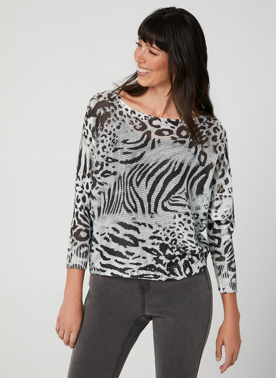 M Made in Italy – Animal Print Sweater, Grey, hi-res