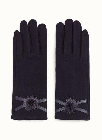 Fur Pom Pom Knit Gloves, , hi-res