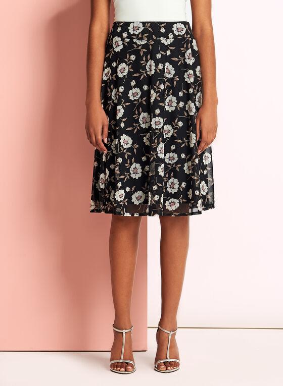 Floral Print Flared Trapeze Skirt, Black, hi-res