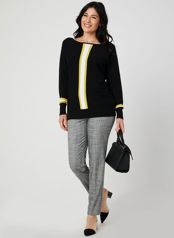 Stripe Print Sweater, Black, hi-res,  3/4 sleeves, ¾ sleeves, dolman sleeves, textured, knit, fall 2019, winter 2019