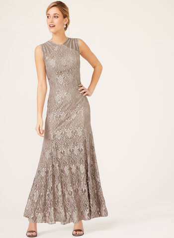 Sequin Lace Mermaid Dress, Brown, hi-res