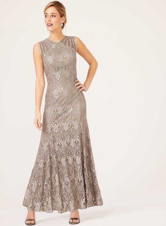 Sequin Lace Mermaid Dress, Brown, hi-res