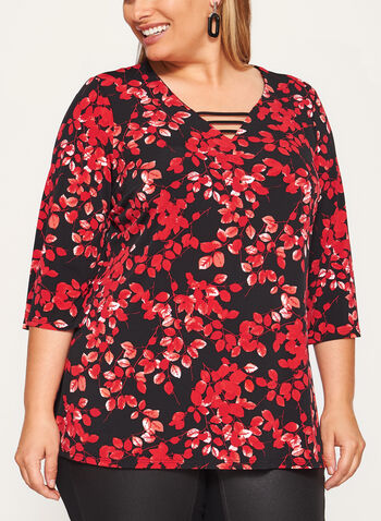 Leaf Print Jersey Top , Black, hi-res