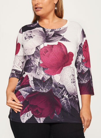 Embellished Rose Print Burnout Tunic, Red, hi-res