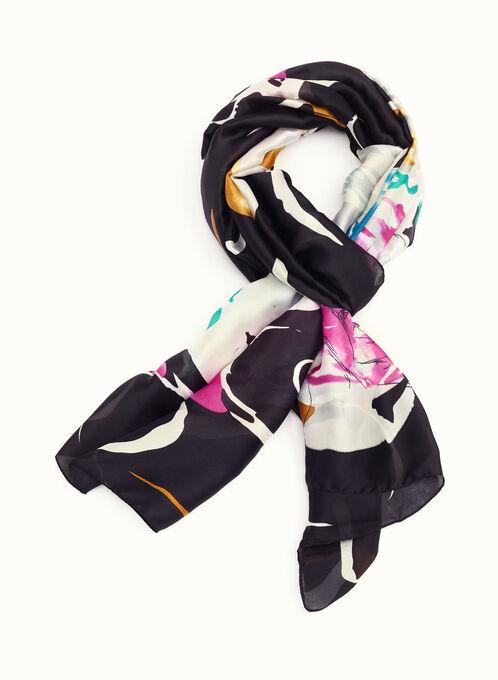 Foulard aquarelle tourbillon de fleurs, Noir, hi-res