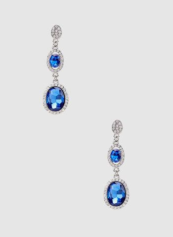 Boucles d'oreilles à pierres facettées et cristaux, Bleu, hi-res