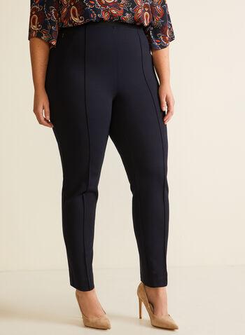 Slim Leg Pull On Pants, Blue,  pants, pull-on, slim leg, pockets, pleats, fall winter 2020