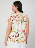 T-shirt motif feuilles et strass, Rouge, hi-res