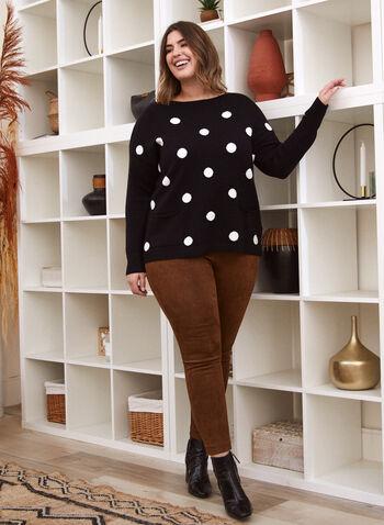 Sweater With Large Polka Dots, Black,  fall winter 2020, sweater, knit, long sleeves, dolman sleeves, polka dot, holiday
