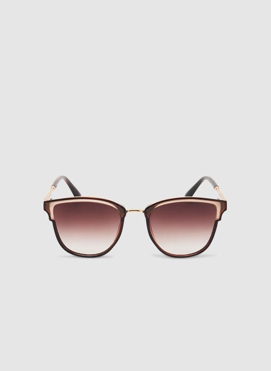 Plastic Frame Sunglasses, Brown, hi-res