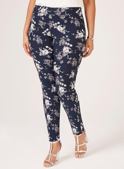 Pantalon floral à jambe étroite