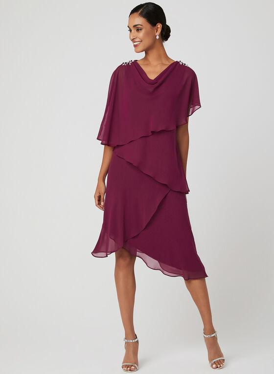 Robe asymétrique en mousseline étagée, Violet, hi-res