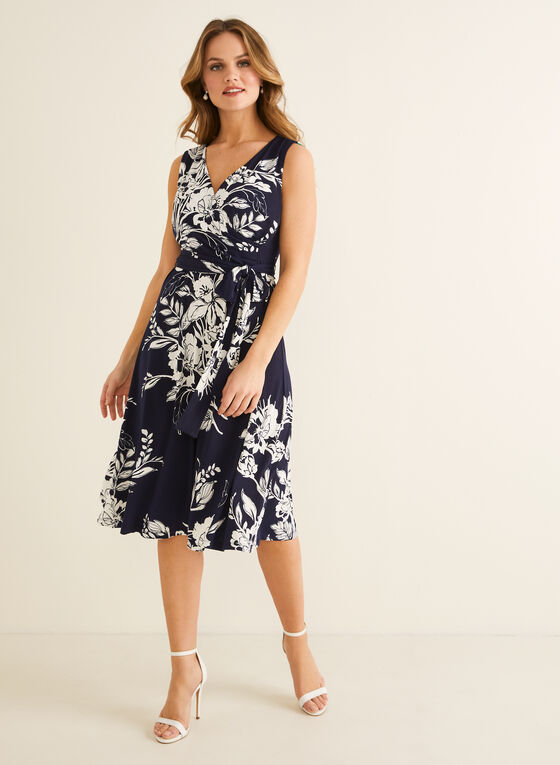 Floral Print Belted Dress, Blue