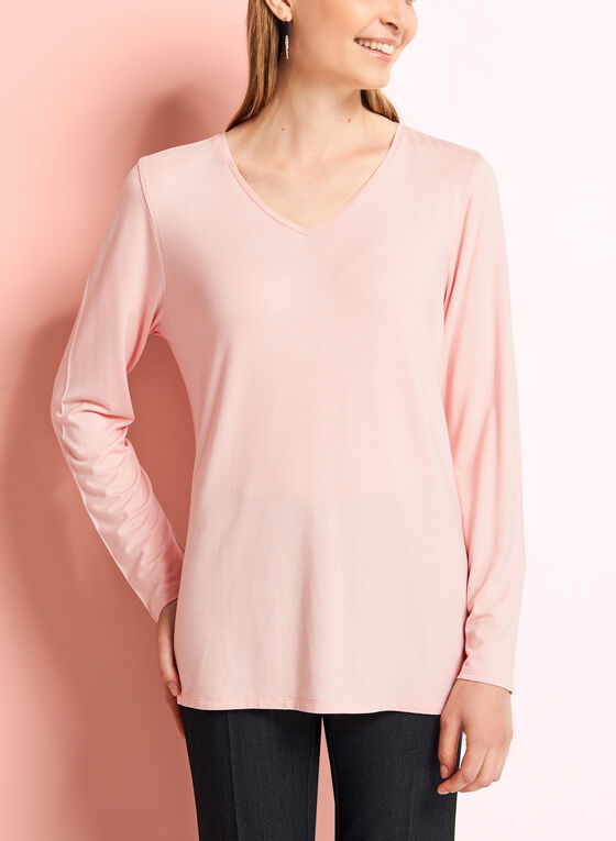 Long Sleeve V-Neck Top, Pink, hi-res