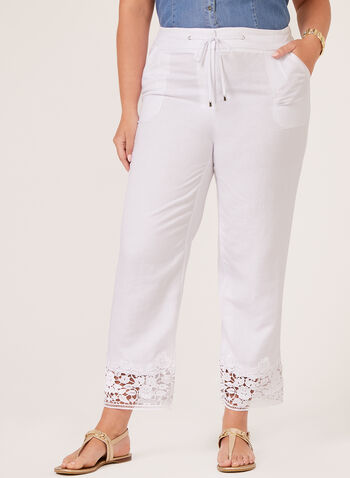 Modern Fit Wide Leg Linen Pants, White, hi-res
