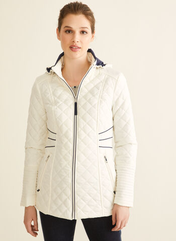 Novelti - Diamond Quilt Coat, Grey,  coat, diamond quilt, spring coat, long sleeves, removable hood, spring 2020, summer 2020