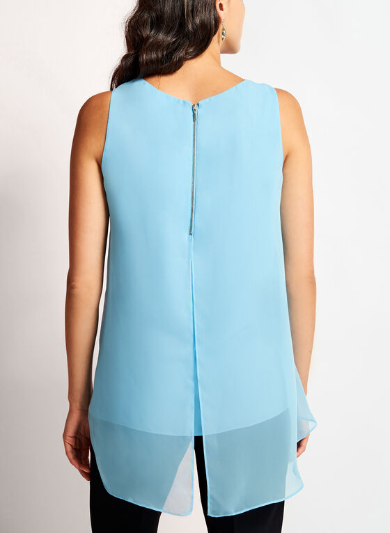 Sleeveless Capelet Back Blouse, Blue, hi-res