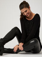 Picadilly – Crystal Embellished Long Sleeve Top, Black, hi-res