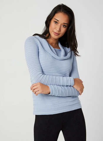 Long Sleeve Lurex Sweater, Blue,  lurex sweater, sweater, cotton sweater, cowl neck, long sleeves, metallic, fall 2019, winter 2019