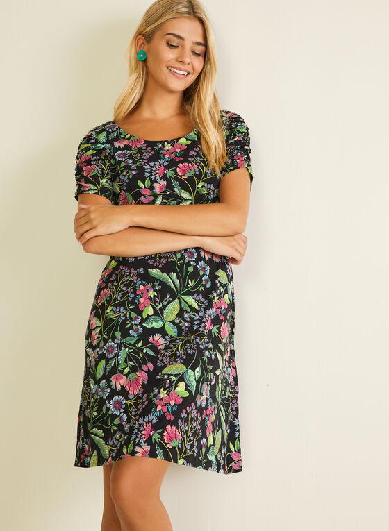 Floral Print Ruched Sleeve Dress, Black