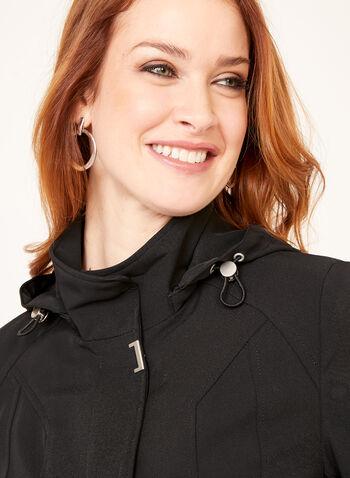 Manteau imperméable avec capuchon amovible, Noir, hi-res