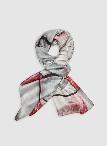 Rose Print Scarf, Grey,  scarf, lightweight, rose print, fall 2019, winter 2019