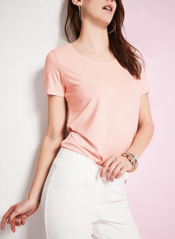 T-shirt à manches courtes à encolure dégagée, Rose, hi-res