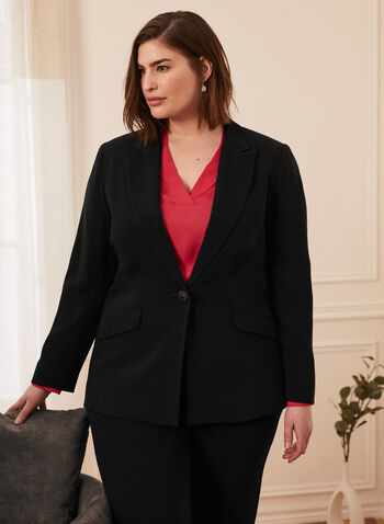 One-Button Notch Collar Jacket, Black,  Spring summer 2021, blazer, suit jacket, one button, one button front closure, faux pockets, flaps, wool fabric