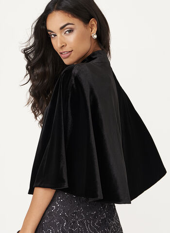 Crystal Detail Velvet Cape , , hi-res