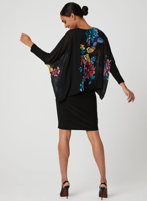 Butterfly Print Chiffon Poncho Dress, Black, hi-res