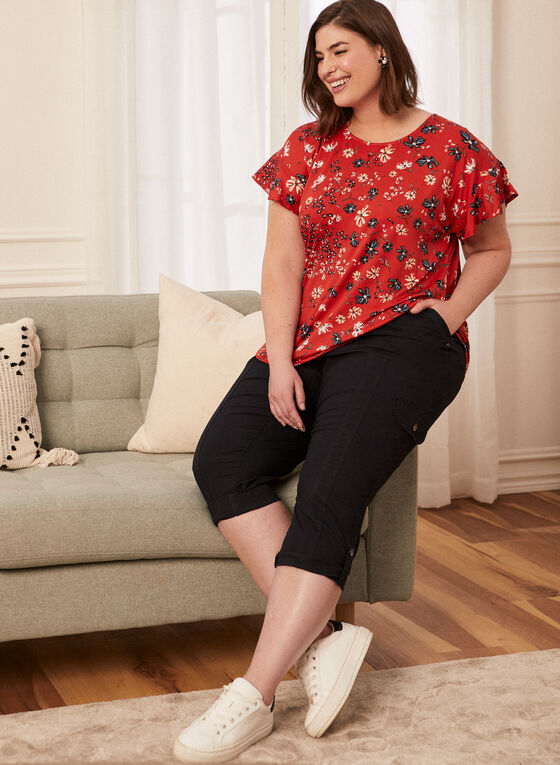 Floral Print Ruffle Sleeve Top, Red